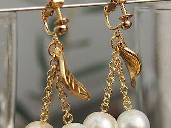 ヴィンテージパールのさくらんぼイヤリング(ゴールド)の画像