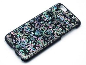 iPhone7/6/6sケース 天然貝仕様(ダマスク・黒カバー)<螺鈿アート>の画像