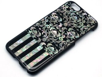 iPhone7/6/6sケース 天然貝仕様(ダマスク×ストライプ・黒カバー)<螺鈿アート>の画像