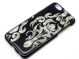 iPhone7/6/6sケース 天然貝仕様(ワンポイントダマスク・黒カバー)<螺鈿アート>の画像