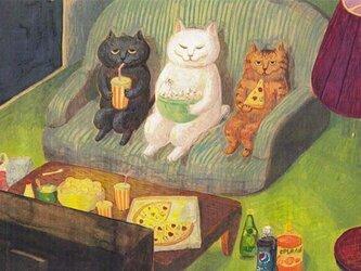 カマノレイコ オリジナル猫ポストカード「愉しみ」2枚セットの画像