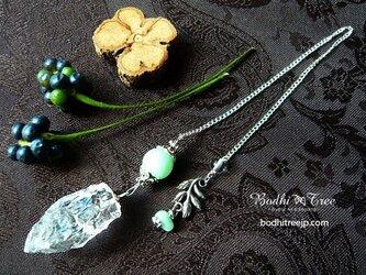 ヒマラヤ水晶原石&グリーンムーン・ペンジュラム(ペンデュラム)の画像