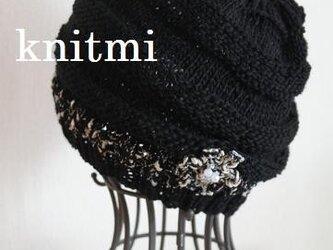 【オールシーズンウール】耳もかくれるニット帽子コサージュの画像