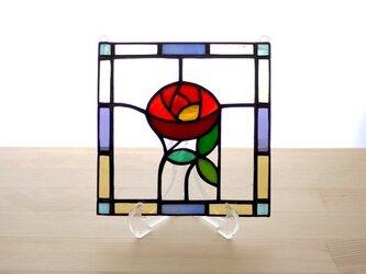 ステンドグラスパネル ローズ Mサイズの画像
