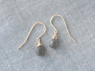 grey moonstone large hook earringsの画像