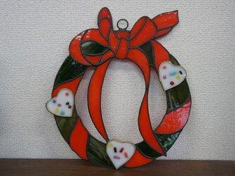 リボンのクリスマスリースの画像