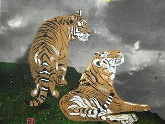切り絵 月夜の虎の画像
