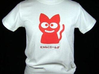 ★★★ゆるキャラ猫の★赤色の猫のTシャツ・新品★★★の画像