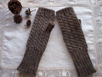 縄編み模様のハンドウォーマー*モカ*の画像