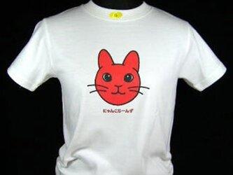 ★オリジナルデザイン★赤いうさぎ猫のTシャツ・新品★の画像