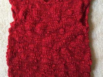 綺麗な真っ赤なスラブ糸‼︎フレンチスリーブベスト(K様受注)の画像