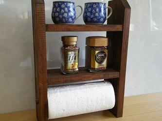 キッチンペーパー収納付 2段スパイスラックの画像