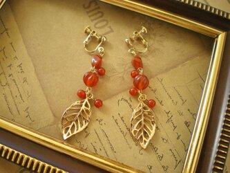 赤めのう木の実とはっぱのイヤリング(ピアス)の画像