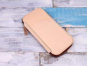 【切線派】牛革手作り手縫いファスナーパスポートファスナー長財布(004001)の画像