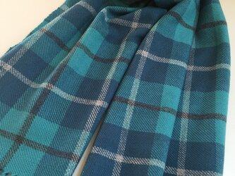 カシミヤストール ブルー×グリーンの画像
