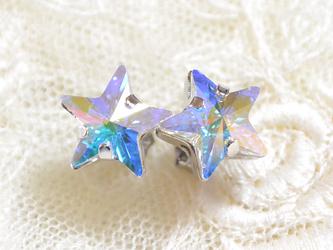 おおつぶスワロの星ピアス(クリスタルオーロラ)の画像