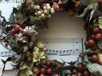 ドライフラワーのクリスマスリースの画像