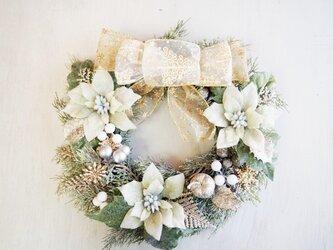 キラキラロマンティックなホワイトクリスマスリース03の画像