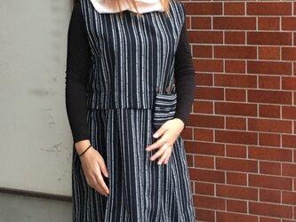 竹柄ストライプ モノトーンなチュニック 着物のリメイクの画像