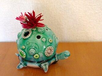 カメ花器(緑)の画像