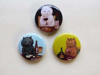 カマノレイコ・猫イラスト・飲兵衛バッジ3個セットの画像