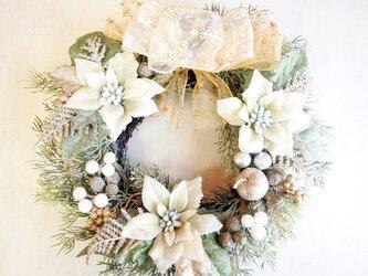 キラキラロマンティックなホワイトクリスマスリース04の画像