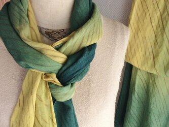 草木と柿渋の嵐絞りロングストール 帯揚げ兼用  竹繊維100%の画像