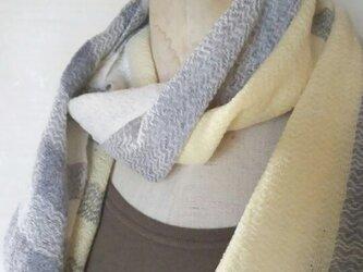 手織りカシミヤのアシンメトリーマフラー 142の画像