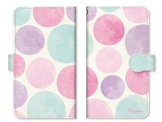 手帳型 水彩画 ドット 水玉 スマホケース ベルト:ミントグリーンの画像