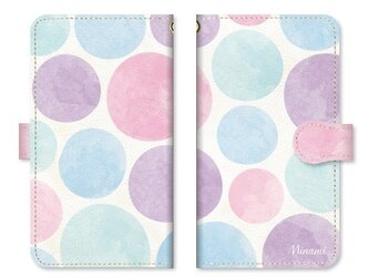手帳型 水彩画 ドット 水玉 スマホケース ベルト:ピンクの画像