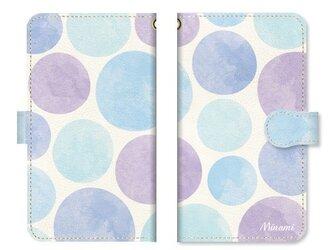 手帳型 水彩画 ドット 水玉 スマホケース ベルト:ブルーの画像