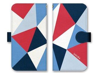 手帳型 三角 模様のiPhoneケース トライアングル トリコロールの画像