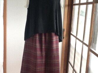 紫のあったかロングギャザースカートの画像