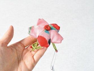小さな巾着袋/みこ花「爽さくら」(花軸色:赤) mi-7b/リメイク着物の画像