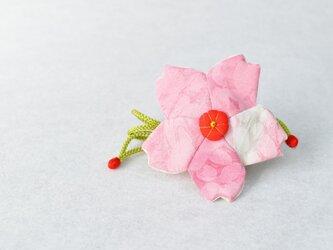 小さな巾着袋/みこ花「さくら色」(花軸色:赤) mi-6b/リメイク着物  売切れの画像