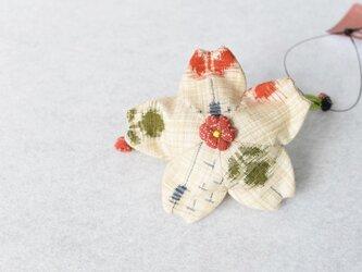 小さな巾着袋/みこ花「絣」(花軸色:赤ドット)mi-5a/リメイク着物の画像