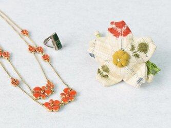 小さな巾着袋/みこ花「絣」(花軸色:黄色)mi-5b/リメイク着物の画像