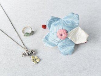 小さな巾着袋/みこ花「みずいろ」(花軸色:ピンク)mi-3a/リメイク着物 sold outの画像