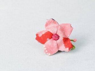 小さな巾着袋/みこ花「ピンク赤絞り」(花軸色:濃ピンク)mi-2b/リメイク着物の画像