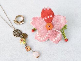 小さな巾着袋/みこ花「ピンク赤絞り」(花軸色:だいだい色)mi-2c/リメイク着物の画像