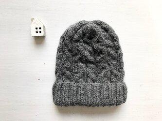 ニット帽子b[ダークグレー]の画像