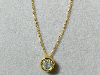 再販:宝石質スカイブルートパーズベゼルチャームネックレス(6ミリ)の画像