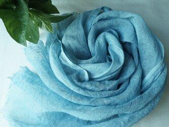 再出品:【藍の生葉染め】リネンストール〈水浅葱色〉③の画像