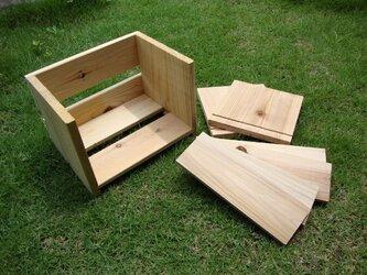 釘打ちトントン簡単木工 DIY キット(杉の木で作る 本棚)の画像