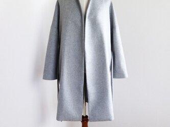 新作【ライトグレー】ウールノーカラーウエストベルト付コート♥の画像