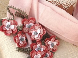 立体レース 花のコットンストール「マーガレット/2辺」パウダーピンクの画像