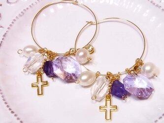 紫の薔薇真珠の雫ピアス の画像