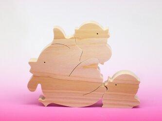 送料無料 木のおもちゃ 動物組み木 にわとりの家族の画像