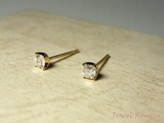 八角形のダイヤのピアス K18YG(片耳用)の画像