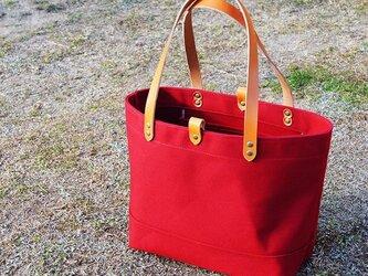 たっぷり容量6号帆布のトートバッグ~赤(倉敷帆布)~の画像